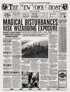 Fantastic Beasts The New York Ghost Poster Harry Potter Newspaper, Gina Harry Potter, Harry Potter Props, Harry Potter Printables, Harry Potter Poster, Mundo Harry Potter, Harry Potter Universal, Harry Potter Movies, Harry Potter World