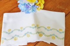 Hand embroidered Yellow and blue pillowcases