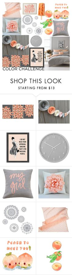 """""""just peachy"""" by presidentofunicorns ❤ liked on Polyvore featuring interior, interiors, interior design, home, home decor, interior decorating, Reception, Umbra, WallPops and Cultural Intrigue"""