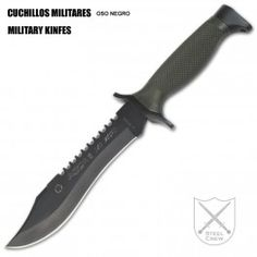 Cuchillo táctico AITOR OSO NEGRO con hoja de 14,5 cm pavonada de acero inoxidable Cro MoVa y empuñadura de poliamida verde y latón. Tactical knife AITOR BLACK BEAR with a blade 14.5 cm long of Cro MoVa steel and a grip of green polyamide and brass. €82.31