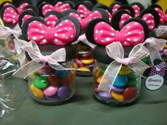 dulceros-frascos-5 Minnie Birthday, Minnie Mouse Party, Mouse Parties, 1st Birthday Parties, Mickey Ears, Happy Birthday, Clay Jar, Fimo Clay, Fondant Figures