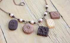 Mini food necklace Kawaii food necklace Cookies necklace Miniature food charms Realistic cookies Mini food jewelry Pastries necklace (45.00 USD) by JewelryByCompliment