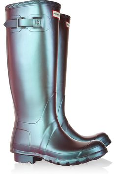 Hunter Original Tall Pearlescent Wellington Boots(NET-A-PORTER.COM, $150.00) - rain boots, rubber, purple to green, shimmer, futuristic.