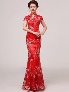 Red Sequined Ankle-length Mermaid Chinese Qipao / Cheongsam Wedding Dress