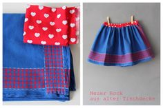 Neuer Kinderrock aus alter Tischdecke – Upcycling old table cloth to kids skirt