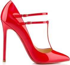V-Neck t-strap pump; available online in red at Net-A-Porter & Christian Louboutin US