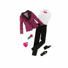 Ken Clothes: Plaid Tuxedo Fashion Outfit by Mattel. $10.99. Age 3+. Dress Ken for a formal event with this black and pink plaid tuxedo set. Set includes 6 pieces: pants, jacket, shirt, shoes, rose bunch, and heart chocolate box accessory.. Part of the Ken Fashionistas clothing line. Formal and fabulous! Give Ken doll the most elegant look for his formal event. This head-to-toe set comes with black tux pants, white sleeveless tuxedo shirt with a pink bow tie, black and pin...