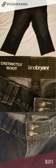 Lane Bryant Distinctly Boot 16 Petite Denim Jeans Condition: Excellent Used Condition  Brand: Lane Bryant  Color: Dark blue denim Size: 16 Petite   Excellent like new condition. Boot cut dark blue denim jeans. Hems are not frayed at all. No denim fading. Double button and zipper fly. Pair with one of the many sweaters I have listed for a perfect fall look.   Smoke Free home Lane Bryant Jeans Boot Cut
