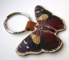 Beautiful Leather Butterfly Keychain