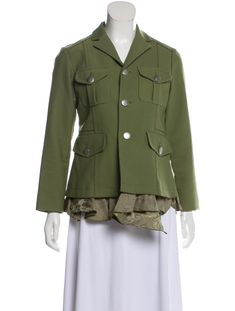 Ruffle Trim, Sustainable Fashion, Olive Green, Military Jacket, Marc Jacobs, Blazer, Silk, Clothes For Women, Long Sleeve