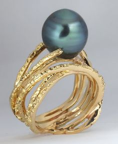 """Thierry Vendome """"Bark"""" Ring.  Yellow gold and Tahitian Pearl."""
