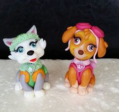 Paw Patrol Skye and Everest fondant cake toppers
