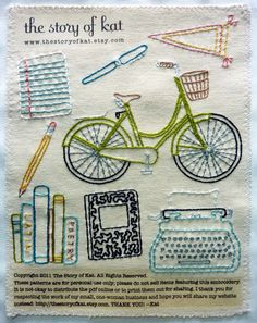Off to College Embroidery Pattern from The Story of Kat #embroidery #pattern #art #school #crafts