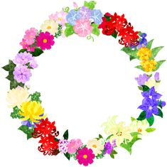 色々な花で作られたリース