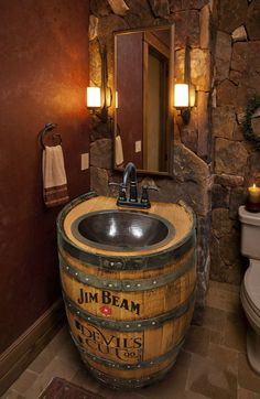 whiskey-barrel-sink-hammered-copper-rustic-antique-bathroom-bar-man-cave-vanity-wine-oak-barrel-vanity-bourbon-custom-personalized/ delivers online tools that help you to stay in control of your personal information and protect your online privacy. Rustic Bathroom Designs, Rustic Bathroom Vanities, Rustic Bathrooms, Wood Bathroom, Bathroom Ideas, Bathroom Remodeling, Basement Bathroom, Small Bathroom, Man Cave Bathroom