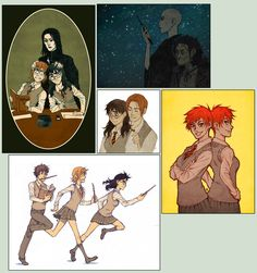 Gender-swapped Harry Potter - by maaria at deviantART - love the twins and Harriet getting all blushy . . .
