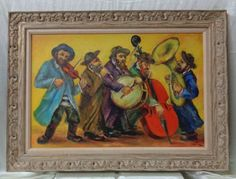 T. Wolberg Vintage Judaica Oil Painting w. Antique Decorative Wooden Frame #Impressionism