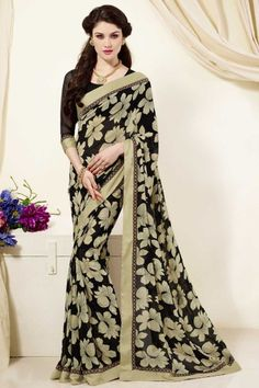 Presenting #Black and Beige Faux Georgette #Saree with Printed and Lace Work Order Now@ http://zohraa.com/sarees/colour/black-sarees/black-and-green-faux-georgette-saree.html Rs 1649.