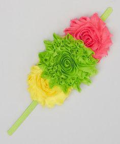 Loving this Green & Pink Floral Trio Headband on #zulily! #zulilyfinds