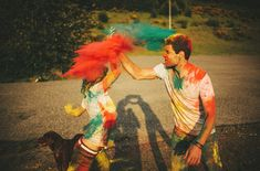 Adorable engagement photo shoot: with holi powder! So unique :)