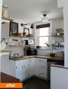 Before & After: 15 Kitchen Makeover Projects from Our Readers, lightened up kitchen, like wooden picture frames, open shelving, subway tiles, hung measuring cups