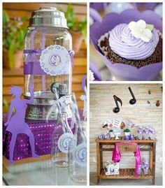 Purple Rock Star + Makeover themed birthday party via Kara's Party Ideas KarasPartyIdeas.com #rockstarparty #musicparty #karaspartyideas #ma...