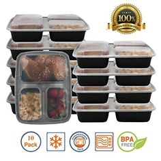 ChefLand 3-Compartment Microwave Safe Food Container with Lid/Divided Plate/Bento Box/Lunch Tray with Cover, Black, 10-Pack