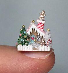 Miniature Christmas Putz Dollhouse Gingerbread Cottage House