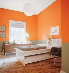 Orange And Green Wall Color For Bright Bedroom Ideas With Funky Two Colors Combination And Ball Shaped Pendant Lamp How to Paint Two Colors Combination on a Wall Using Striped or even Wainscoting look