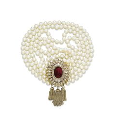 A CULTURED PEARL, RUBY AND DIAMOND NECKLACE, BY VAN CLEEF & ARPELS
