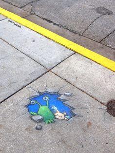Chalk street art in NYC  Artist: David Zinn