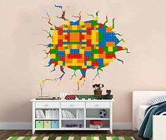Lego Wall Crack Decal  sc 1 st  Pinterest & Geometric lego wall decal colored building blocks lego decal plastic ...