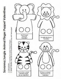 Page 1 of 1 Crafts To Make, Crafts For Kids, Felt Finger Puppets, Jungle Party, Bible Crafts, Jungle Animals, Art Club, Be My Valentine, Paper Dolls