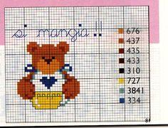 schema gratuito orsacchio punto croce per bavetta teddy bib pattern free for cross stitch
