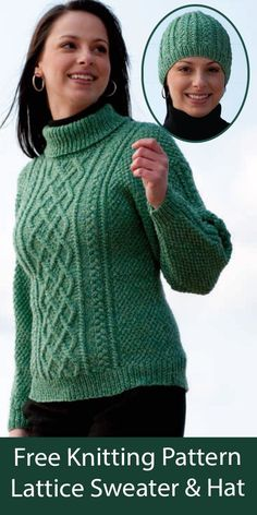 """Free Lattice Sweater and HatKnitting Patterns. Pullover with turtleneck and lattice cable panel on front with matching cabled hat. Sweater sizes 37"""", 40"""", 44"""", 49"""". Designed by Susie Bonell for Cascade Yarns. Worsted weight yarn."""