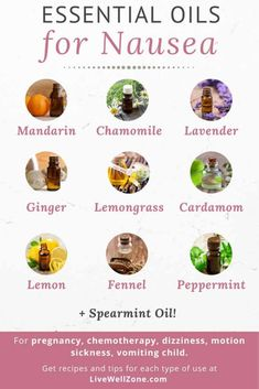 Need instant nausea relief? These essential oils for nausea are great for various types of nausea. Whether it's pregnancy nausea, child nausea, nausea and dizziness, motion sickness or diarrhea nausea, these oils and recipes are sure to help fast. Essential Oils For Nausea, Essential Oils For Pregnancy, Anti Nausea Medication, Oils For Sore Throat, Nausea Relief, Remedies For Nausea, Chamomile Oil, Healthy Mind And Body, Essential Oil Diffuser Blends