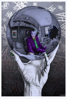 The Joker in Escher's Mirror Ball - Marco Champier. Psychotic and creepy Joker…