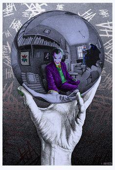 The Joker in Escher's Mirror Ball - Marco Champier. Psychotic and creepy Joker. My cup of tea! - Ander