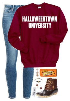 """""""alumni of Halloweentown University"""" by kaley-ii ❤ liked on Polyvore featuring Paige Denim, Disney, Sperry Top-Sider and Daniel Wellington"""