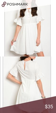 """Lace Up Ruffled Sleeve  A-line Shift Dress, new! Lace Up Neckline 3/4 Ruffled Sleeve  A-line Shift Dress.Fabric Content: 60% POLYESTER 40% RAYON. Size small measurements: Description: L: 34"""" B: 34"""" W: 32"""" trendy boutique Dresses Mini"""