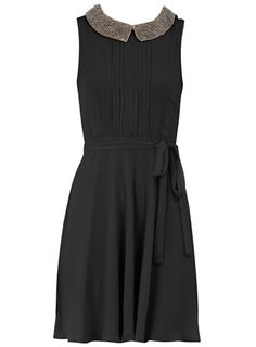 Dorothy Perkins	Black embellished collar #dress $44 #dorothyperkins