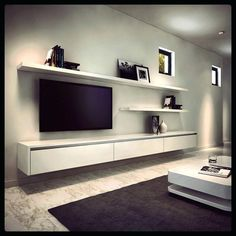23 Ideas For Living Room Tv Wall Modern Floating Shelves Decorating Ideas Floating Entertainment Unit, Floating Tv Unit, Entertainment Centers, Floating Tv Cabinet, Floating Shelves For Tv, Floating Tv Stand Ikea, Ikea Stand, Built In Tv Cabinet, Small Tv Cabinet