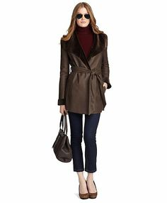 Shearling Wrap Coat - Brooks Brothers