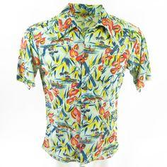91837c98 Vintage 60s Hang Ten Hawaiian Shirt Mens Medium Tropical Beach Poly Thin