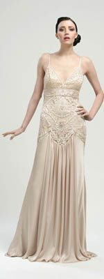 Sue Wong Antique Champagne Embroidered Drop Waist Satin Long Flapper Dress