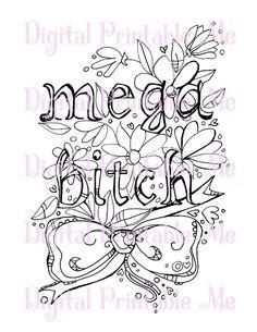 Swear Word Coloring Book Page Printable Mega By DigitalPrintableMe