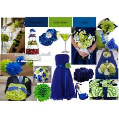 """""""Lime Green and cobalt blue wedding"""" by tweeterj on Polyvore; I like the blue table runner on white linen with the green and white flowers"""