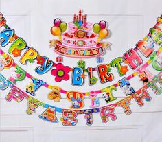 [Visit to Buy] 2.2M Birthday Party Event Banner Colorful Garland Birthday Party Decorations Kids Paper Bunting Flag Festivel Event Accessories #Advertisement