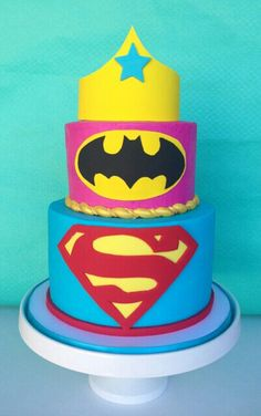 Super heroes cakes for twins boy & girl love the colors