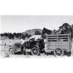 1928 horse trailer in New Mexico.  There are just so many things to love about this picture.